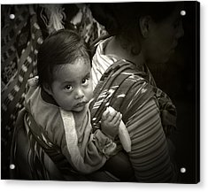 Baby With A Banana Acrylic Print by Tom Bell