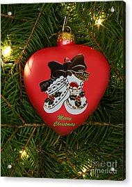 Baby's 1st Christmas Heart Ornament Acrylic Print by Linda Rae Cuthbertson