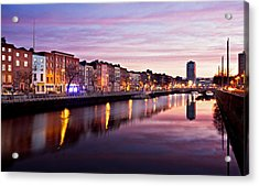 Acrylic Print featuring the photograph Bachelors Walk And River Liffey At Dawn - Dublin by Barry O Carroll