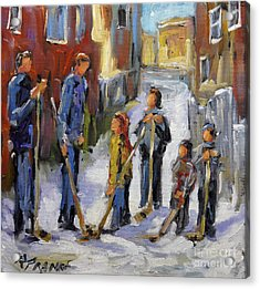 Back Lane Hockey The Stand Off By Prankearts Acrylic Print by Richard T Pranke