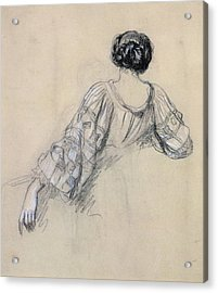 Back Of A Young Woman Acrylic Print by Antoine Auguste Ernest Herbert