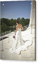 Back Of Bride At Baha'i Temple Acrylic Print by Mike Hope