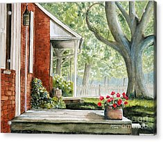 Back Porch Geraniums Acrylic Print by John W Walker