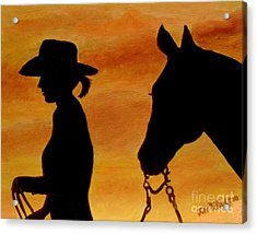 Acrylic Print featuring the painting Back To The Barn by Julie Brugh Riffey