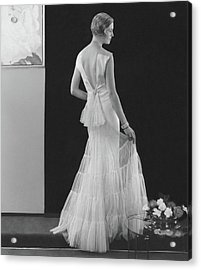 Back View Of A Model Wearing An Evening Gown Acrylic Print