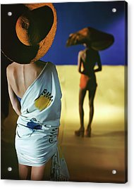Back View Of Two Models Wearing Sarongs Acrylic Print