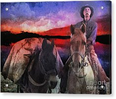 Acrylic Print featuring the digital art Backcountry Packer by Rhonda Strickland