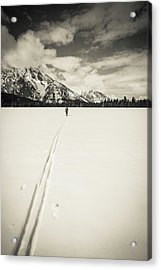 Backcountry Skier Under Mount Moran Acrylic Print