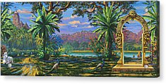 Backdrop For Three Altars Acrylic Print by Vrindavan Das