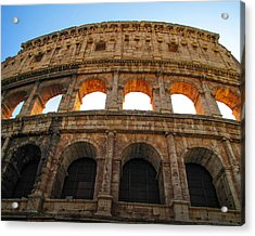 Acrylic Print featuring the photograph Backlit  Colosseum by Joe Winkler
