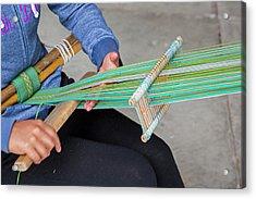 Backstrap Loom Weaving Acrylic Print by Jim West