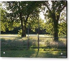 Backyard Gate At Sunset Acrylic Print