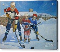 Backyard Ice Hockey Acrylic Print by Christina Clare