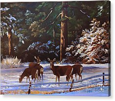 Backyard Visitors Acrylic Print by Suzanne Schaefer