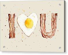 Bacon And Egg I Heart You Watercolor Acrylic Print