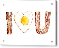 Bacon And Egg Love Acrylic Print by Olga Shvartsur