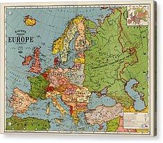 Bacon's Standard Map Of Europe - Circa 1920 Acrylic Print