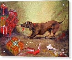 Bad Dog Christmas Acrylic Print by Stella Violano