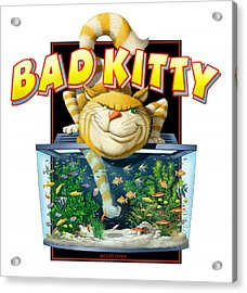 Bad Kitty Acrylic Print by Scott Ross
