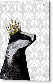 Badger King Acrylic Print by Kelly McLaughlan