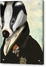Badger The Hero Acrylic Print by Kelly McLaughlan