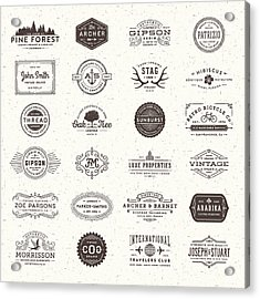 Badges, Labels And Frames Acrylic Print by Aleksandarvelasevic
