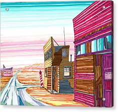 Acrylic Print featuring the drawing Badlands Barbershop by Scott Kirby