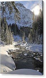 Baergunt Valley Kleinwalsertal Austria In Winter Acrylic Print by Matthias Hauser