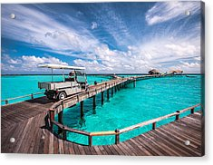 Baggy On The Jetty Over The Blue Lagoon Acrylic Print