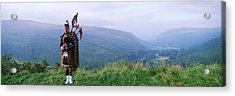 Bagpiper At Loch Broom In Scottish Acrylic Print