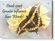 Bahai Butterfly Quote Acrylic Print by Rudy Umans