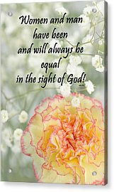 Bahai Quote On Carnation Acrylic Print by Rudy Umans