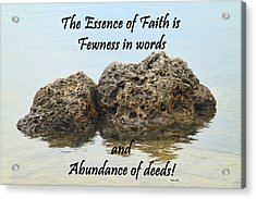 Bahai Quote On Rocks Acrylic Print by Rudy Umans