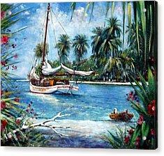 Bahamas Moored For The Night Acrylic Print