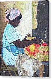 Bahamian Woman Weaving Acrylic Print by Frank Hunter