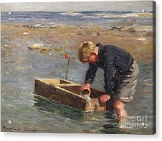Bailing Out The Boat Acrylic Print by William Marshall Brown