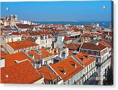 Baixa City Center Of Lisbon Panoramic View Acrylic Print by Kiril Stanchev
