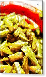 Baked Beans With Chilli Painting Acrylic Print by Magomed Magomedagaev