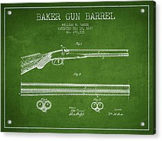Baker Gun Barrel Patent Drawing From 1877- Green Acrylic Print