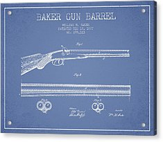 Baker Gun Barrel Patent Drawing From 1877- Light Blue Acrylic Print