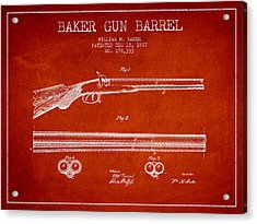 Baker Gun Barrel Patent Drawing From 1877- Red Acrylic Print