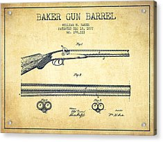Baker Gun Barrel Patent Drawing From 1877- Vintage Acrylic Print