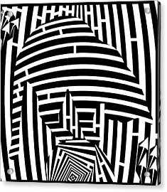Balancing Cat Maze Acrylic Print by Yonatan Frimer Maze Artist
