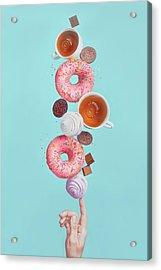 Balancing Donuts Acrylic Print by Dina Belenko Photography