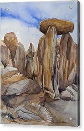 Joshua Tree Balancing Rock Acrylic Print by Lynne Bolwell