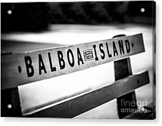 Balboa Island Bench In Newport Beach California Acrylic Print by Paul Velgos