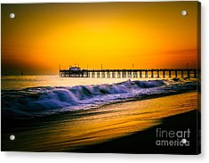 Balboa Pier Picture At Sunset In Orange County California Acrylic Print by Paul Velgos