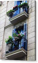 Balconies In Bloom Acrylic Print by Menachem Ganon