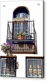 Balcony With Flower Acrylic Print by Bener Kavukcuoglu