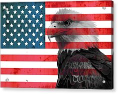 Bald Eagle American Flag Acrylic Print by Dan Sproul